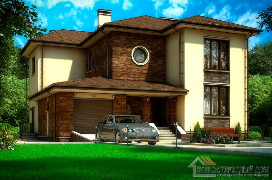 Проект 2 этажного пенобетонного дома площадью 200 м2, К-0355