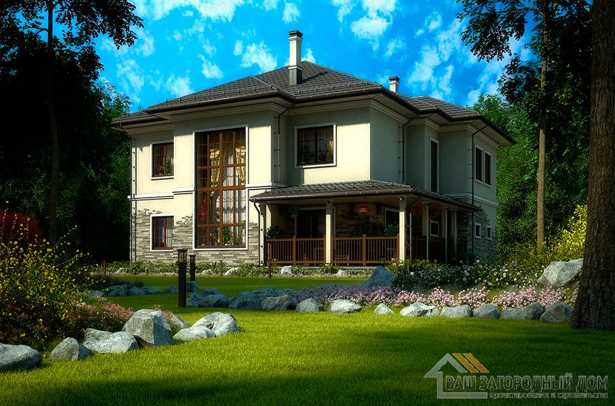 Проект коттеджа в два этажа, общей площадью 349,4 м2, К-0356