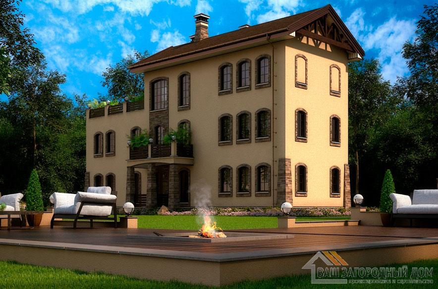 Проект 3 этажного дома, возведенного из газобетонных блоков площадью 328 м2, К-03642