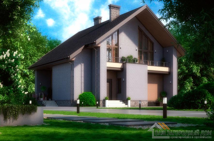 Проект 2 этажного кирпичного дома площадью 212 м2, К-0368