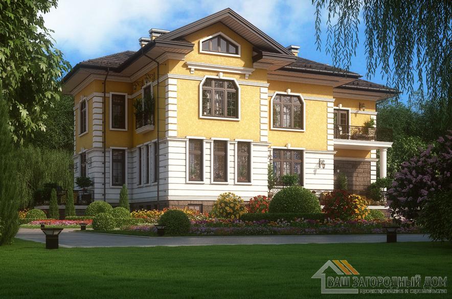 Проект 2 этажного кирпичного дома площадью 537 м2, К-0369