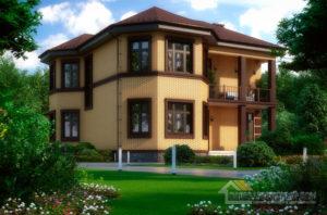 Проект 2 этажного керамического дома площадью 214 м2, К-0375