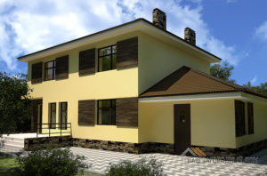Проект 2 этажного газобетонного дома площадью 243 м2, К-00402