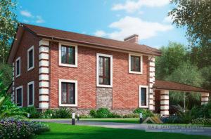 Проект 2 этажного кирпичного дома площадью 230 м2, К-0413