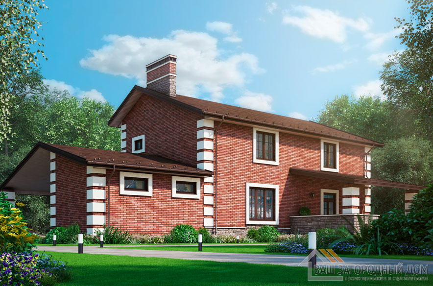 Проект 2 этажного дома, возведенного из кирпича площадью 230 м2, К-04132
