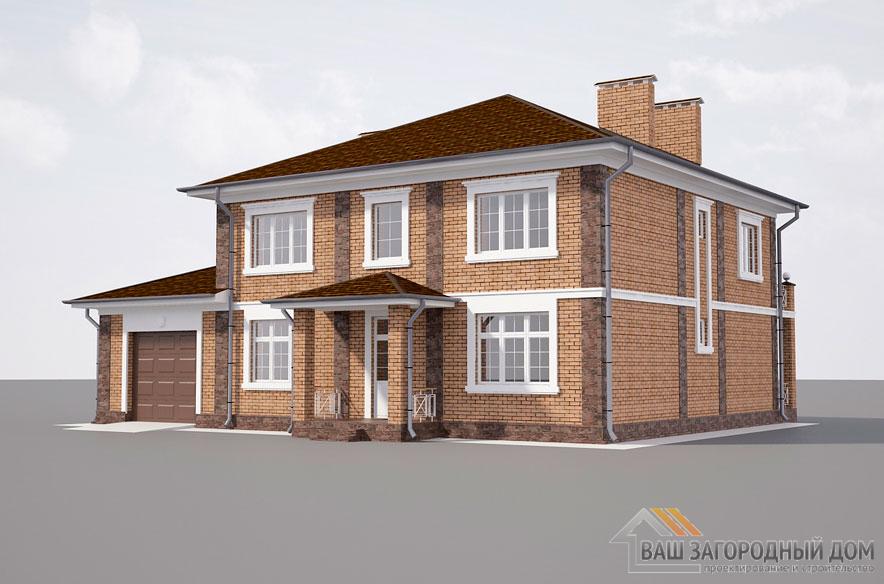 Проект 2 этажного газобетонного дома площадью 291 м2, К-0421