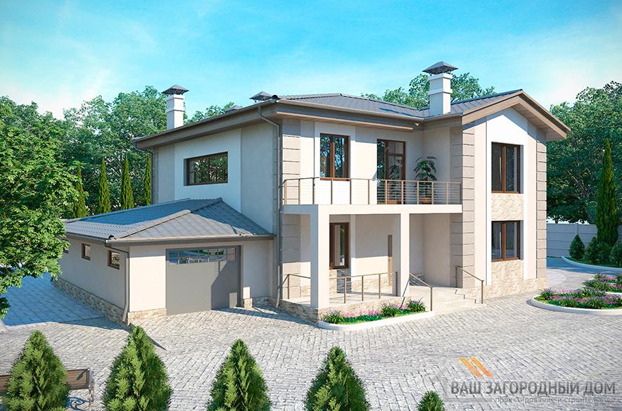 Проект 2-х этажного коттеджа с цокольным помещением, общей площадью 411 м2,К-0043