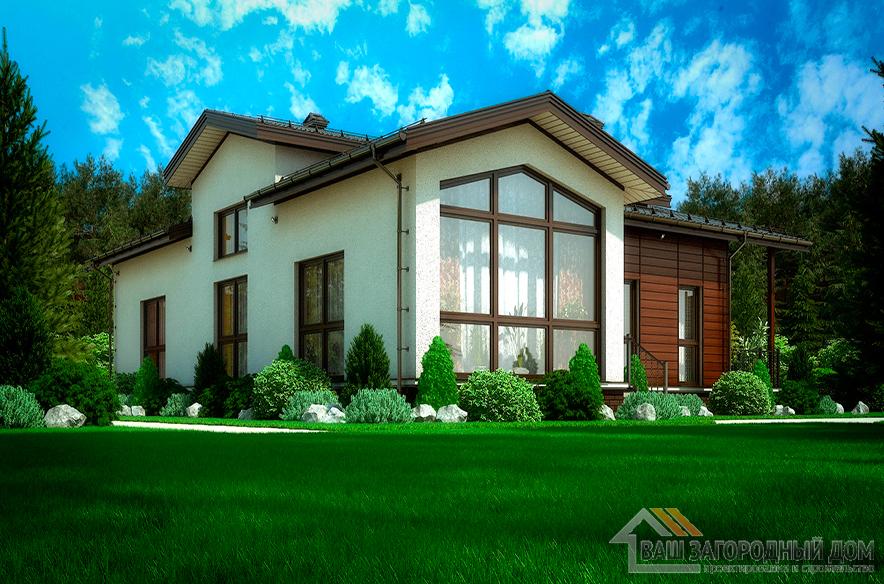 Проект одноэтажного коттеджа с панорамным остеклением, общей площадью 169,3 м2, К-0049
