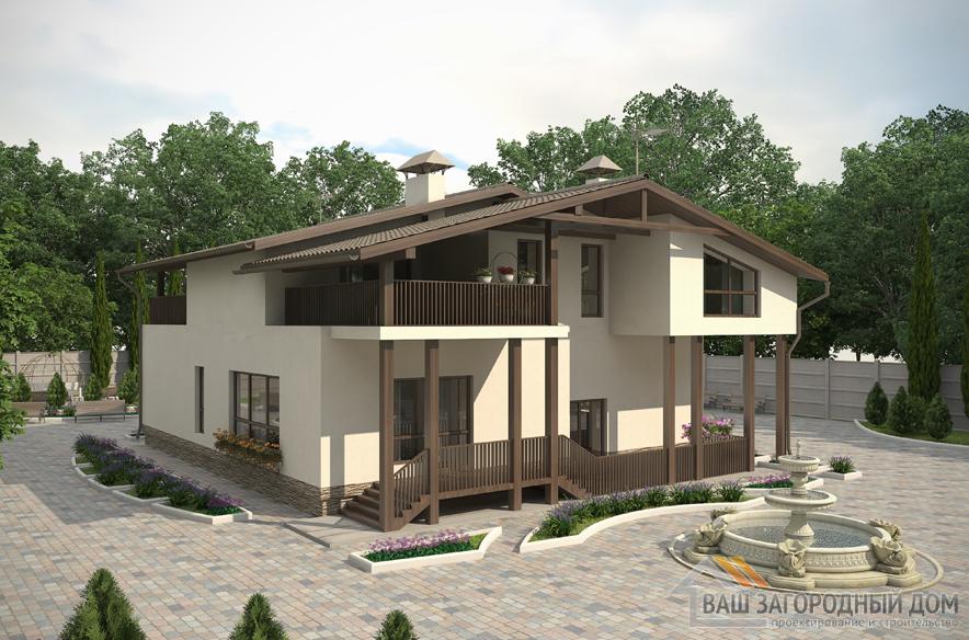 Проект 2 этажного кирпичного дома площадью 286 м2, К-0050