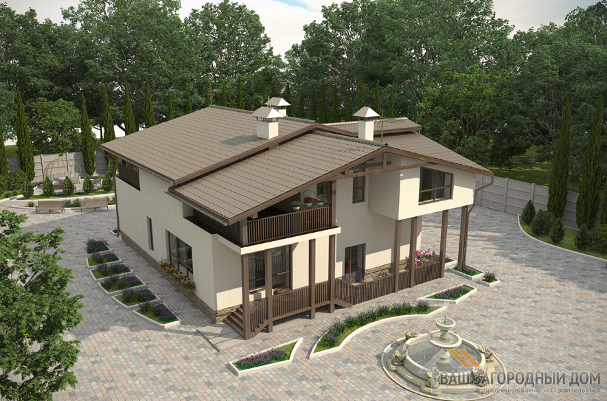 Проект 2 этажного кирпичного дома площадью 286 м2, К-00502