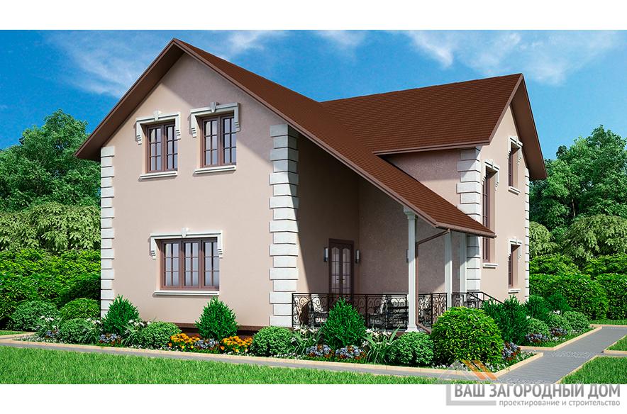 Проект коттеджа с мансардой, общей площадью 162 м2 К-02162