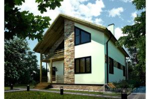 Проект 1 этажного дома с мансардой, общей площадью 155 м2, К-02372