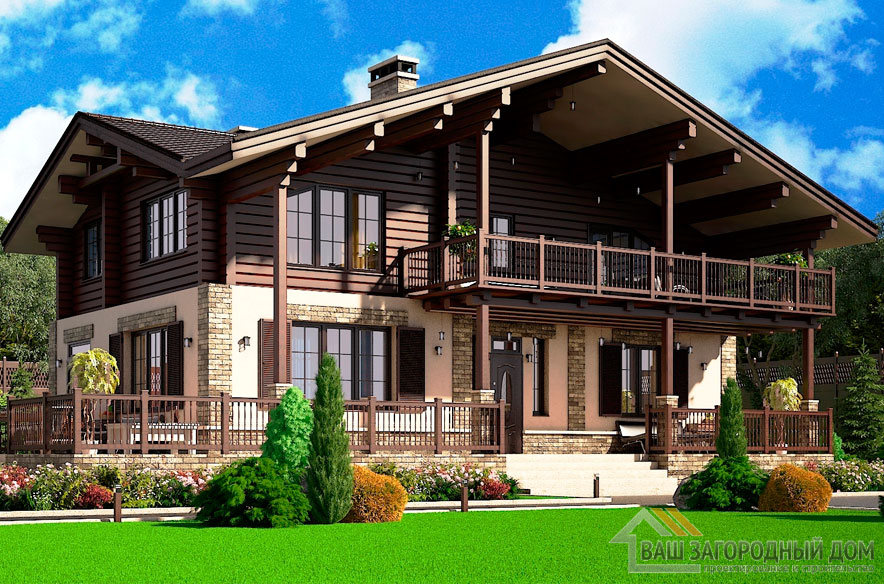 Проект 2 этажного керамического дома площадью 295 м2, К-0064
