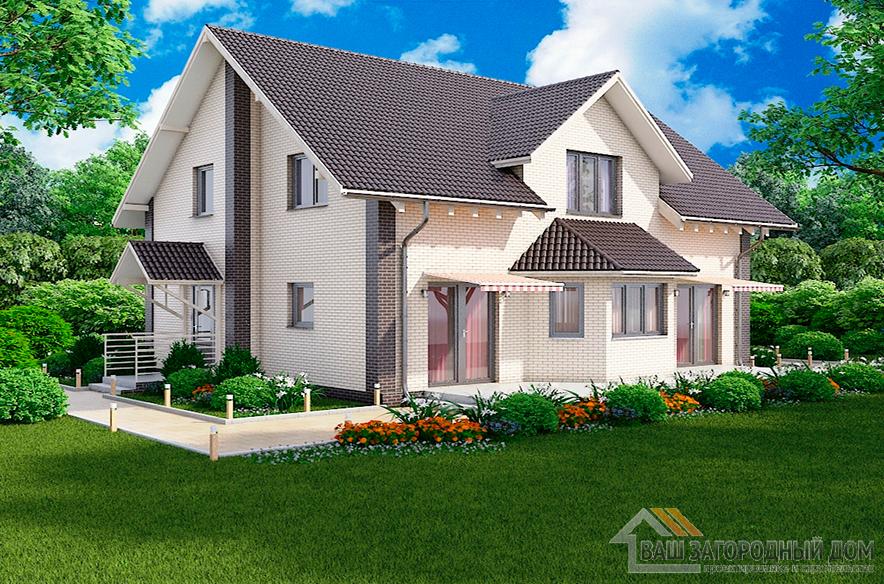 Проект двухэтажного дома, общей площадью 212,59 м2, К-0272
