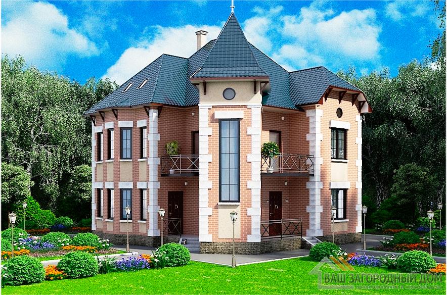 Проект 2-х этажного дома с мансардой в замковом стиле, общей площадью 322,7 м2, К-0284