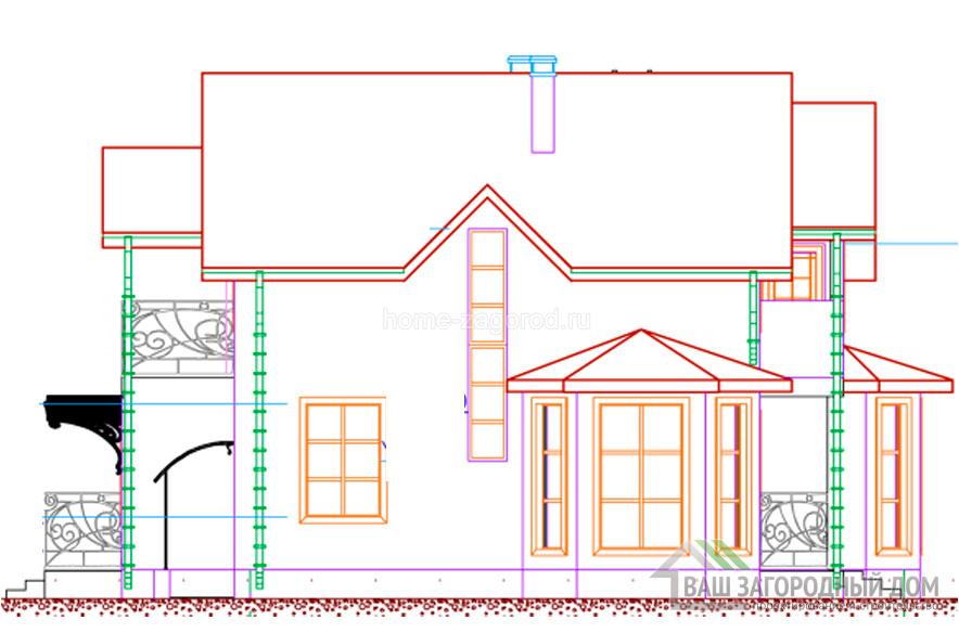 Проект 2 этажного каркасного дома площадью 143 м2, КР-02482