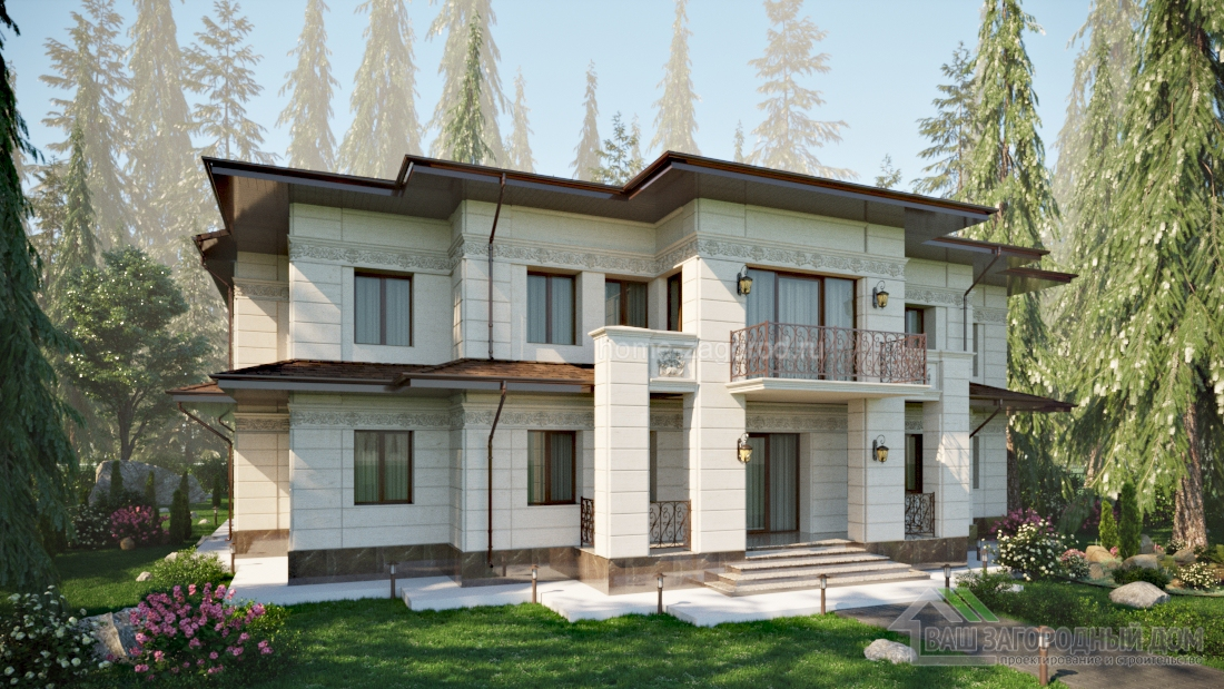 Проект двухэтажного дома в стиле Райта 650 м2