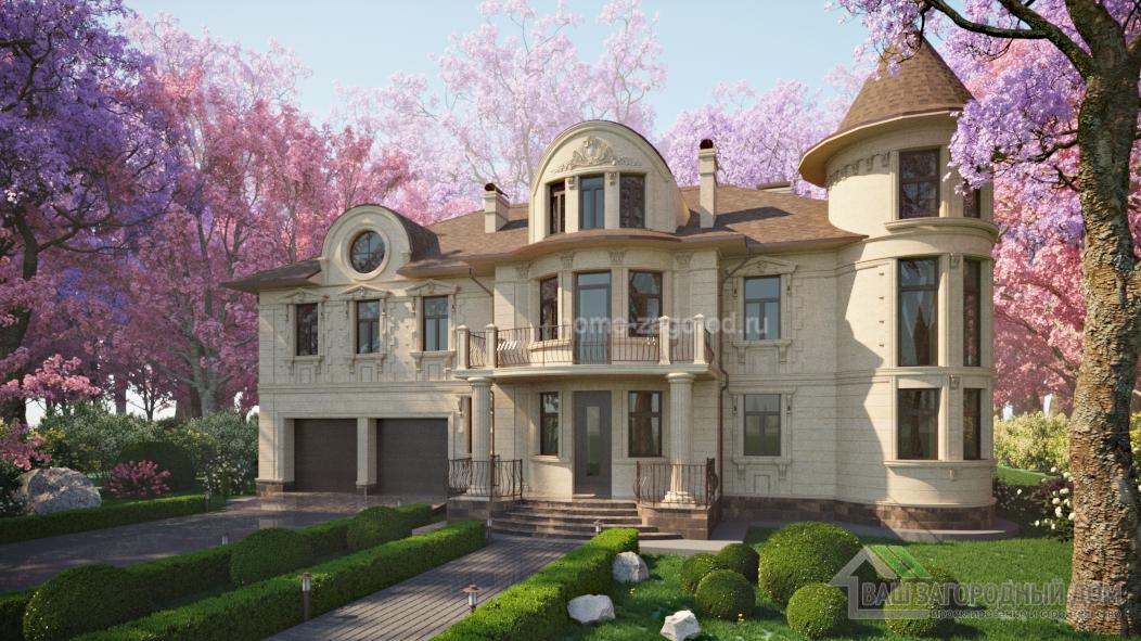 Проект дома с башней в стиле модерн,  860 м2