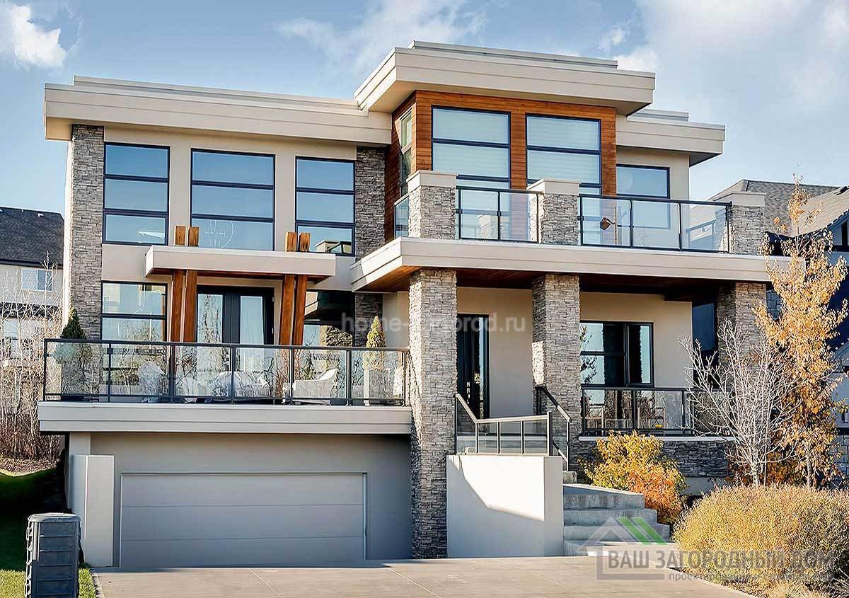 Проект современного  двухэтажного дома с цоколем площадью 297 м2, К-229752