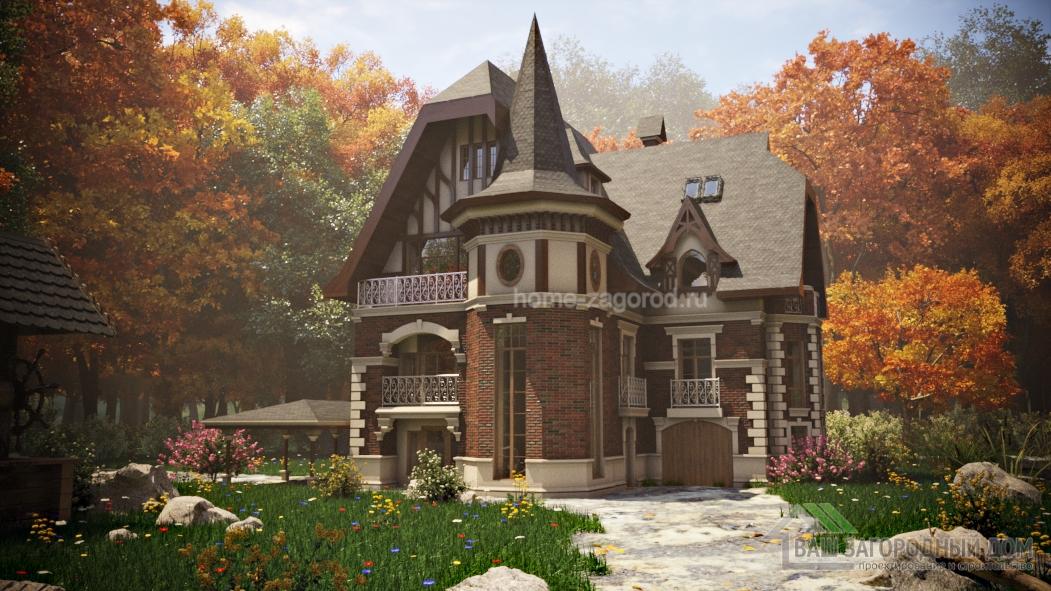 Проект дома с башней во французском стиле,  418 м2
